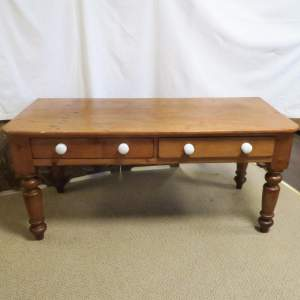 Victorian Pine Serving Table with Two Opening Drawers