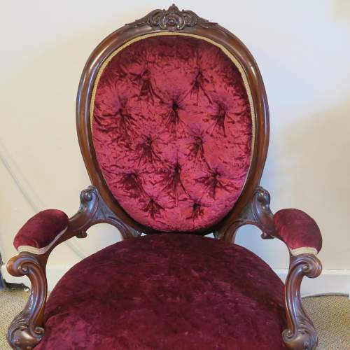 Victorian Walnut Button Back Open Arm Chair image-2
