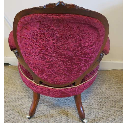 Victorian Walnut Button Back Open Arm Chair image-4