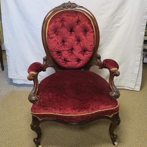Victorian Walnut Button Back Open Arm Chair image-6