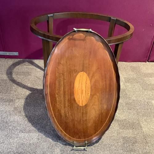 Mahogany Inlaid Tray Table image-2