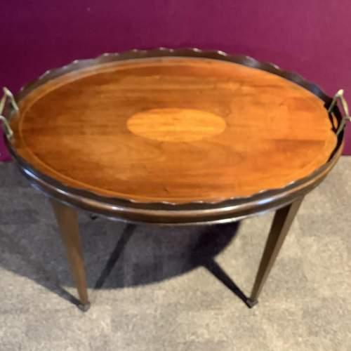 Mahogany Inlaid Tray Table image-4