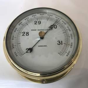 Ships Bulkhead Barometer by Henry Hughes and Sons London Circa 1910