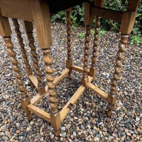 Small Light Oak Gateleg Supper Table with Barley Twist Legs image-5
