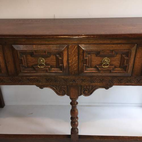 Solid Oak Dresser Base With Geometric Moulded Drawers Circa 1930 image-2