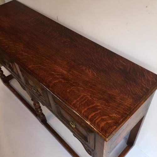 Solid Oak Dresser Base With Geometric Moulded Drawers Circa 1930 image-3
