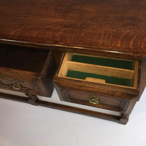 Solid Oak Dresser Base With Geometric Moulded Drawers Circa 1930 image-4