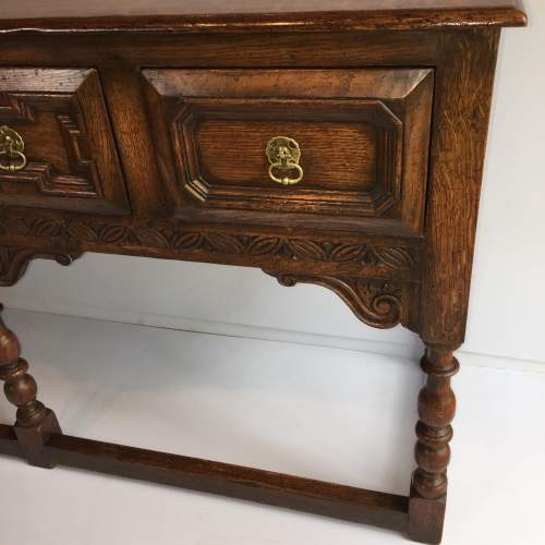 Solid Oak Dresser Base With Geometric Moulded Drawers Circa 1930 image-5