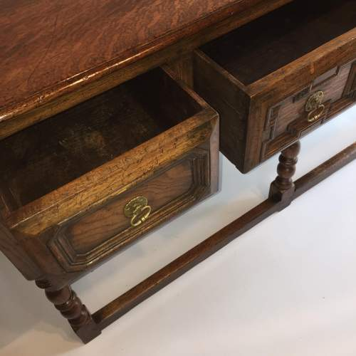 Solid Oak Dresser Base With Geometric Moulded Drawers Circa 1930 image-6