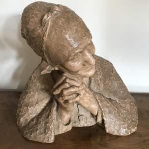 19th Century Terracotta Bust of Breton Lady by Berthe Girardet