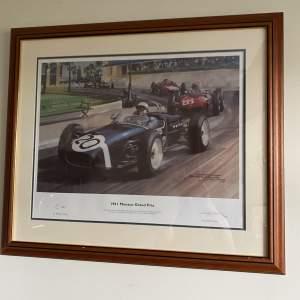 Michael Turner 1961 Monaco Grand Prix Print signed Stirling Moss