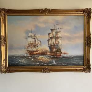 Oil on Canvas Naval Sea Battle between Oak and Sail Men of War
