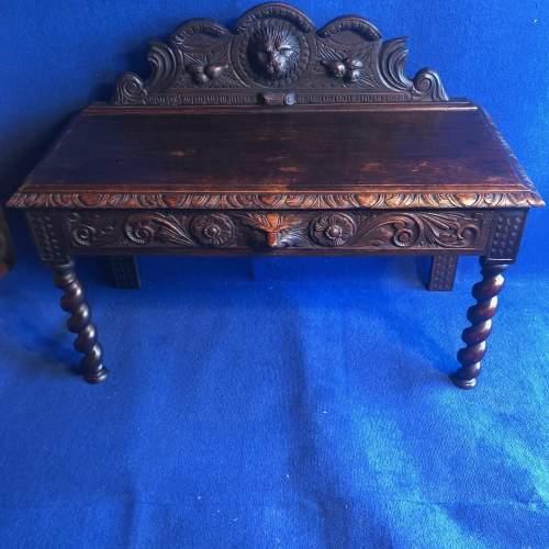 Carved Oak Hall Bench image-1