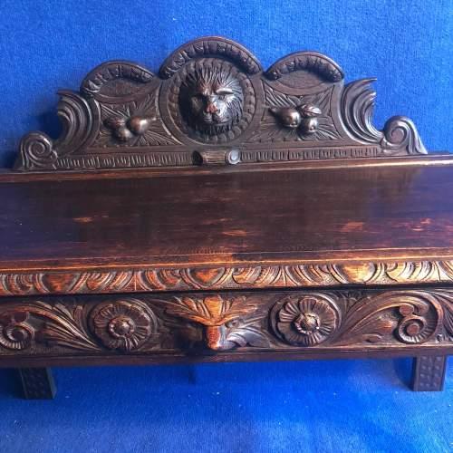 Carved Oak Hall Bench image-2
