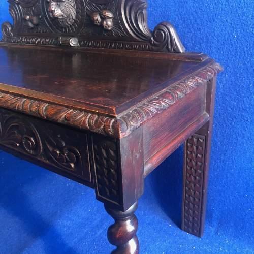 Carved Oak Hall Bench image-3