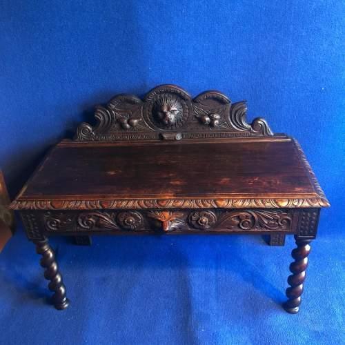 Carved Oak Hall Bench image-4