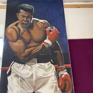 Large Oil on Canvas Muhammad Ali vs Sonny Liston circa late 1960s
