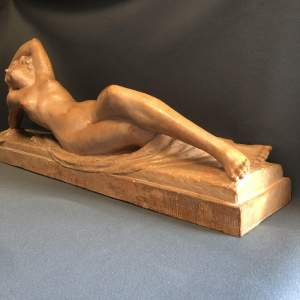 Art Deco Terracotta Model of Resting Nude