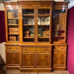 20th Century Large Burr Walnut Breakfront Secretaire Bookcase