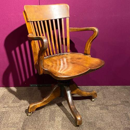 Early 20th Century Walnut Office Chair image-1