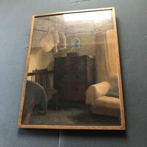 Oil on Board Painting of Room with Hanging Bacon