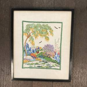 Hand Embroidered Picture of Garden Flowers and Lily Pond Circa 1940s-50s