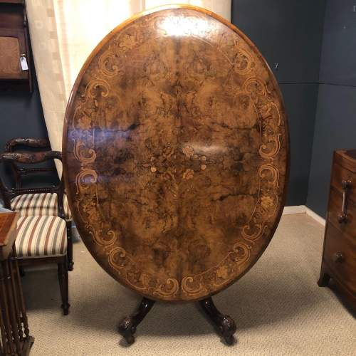 Victorian Burr Walnut and Marquetry Inlaid Dining Table image-2