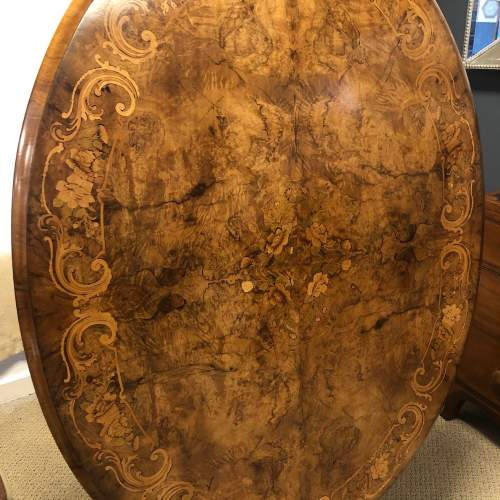 Victorian Burr Walnut and Marquetry Inlaid Dining Table image-1