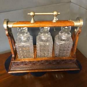 Victorian Oak Cased Three Bottle Tantalus