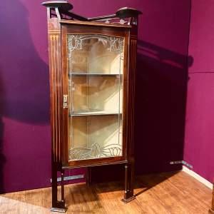 Art Nouveau Glazed Corner Cabinet