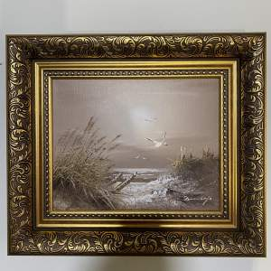 Gilt Framed Oil on Board Painting Coastal Dunes and Wildlife View