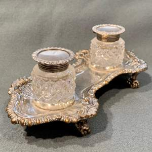 Pair of Victorian Silver Top Cut Glass Inkwells on Silver Plate Stand