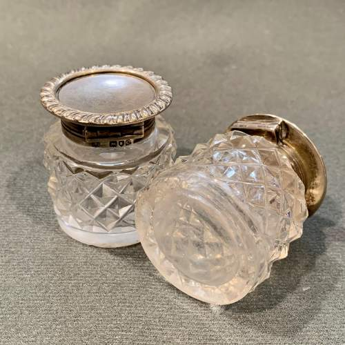Pair of Victorian Silver Top Cut Glass Inkwells on Silver Plate Stand image-6