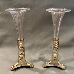 Pair of Walker and Hall Silver Plate and Glass Epergne Vases
