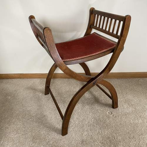 Mahogany X-Frame Folding Dressing Table Stool or Occasional Seat image-1