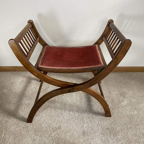 Mahogany X-Frame Folding Dressing Table Stool or Occasional Seat image-3