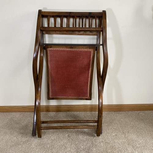 Mahogany X-Frame Folding Dressing Table Stool or Occasional Seat image-4