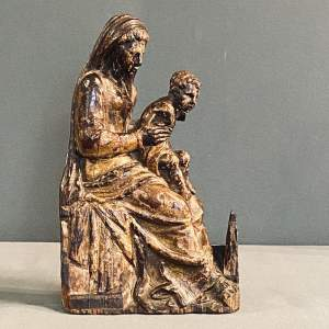 16th Century Small Carved Wooden Madonna and Child
