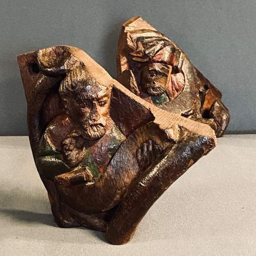 Two 15th Century Carved Oak Fragments Taken from the Tree of Life image-1