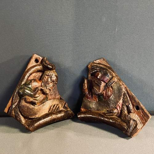 Two 15th Century Carved Oak Fragments Taken from the Tree of Life image-5