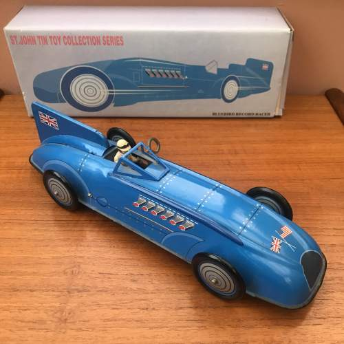 Bluebird Record Racer Tin Plate Key Wind Car With Box image-2
