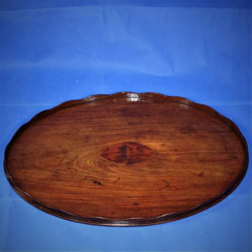 Mahogany Oval Butlers Tray with Scalloped Gallery and Oval Insert image-1