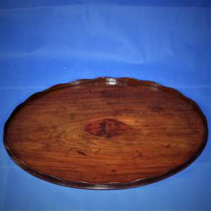 Mahogany Oval Butlers Tray with Scalloped Gallery and Oval Insert