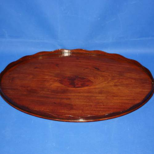 Mahogany Oval Butlers Tray with Scalloped Gallery and Oval Insert image-2