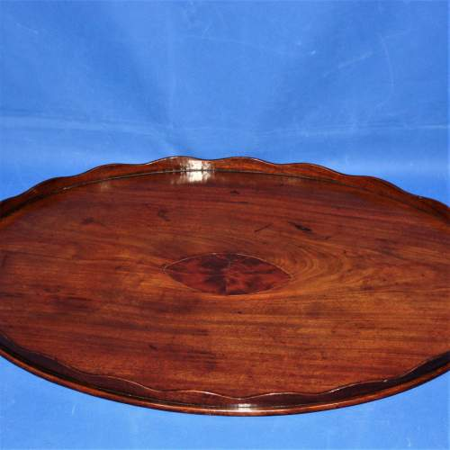 Mahogany Oval Butlers Tray with Scalloped Gallery and Oval Insert image-3