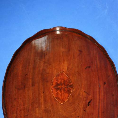 Mahogany Oval Butlers Tray with Scalloped Gallery and Oval Insert image-5
