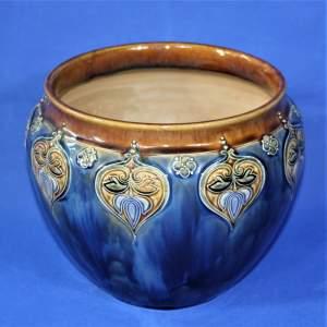 Royal Doulton Stoneware Jardinière with Art Nouveau Floral Motifs