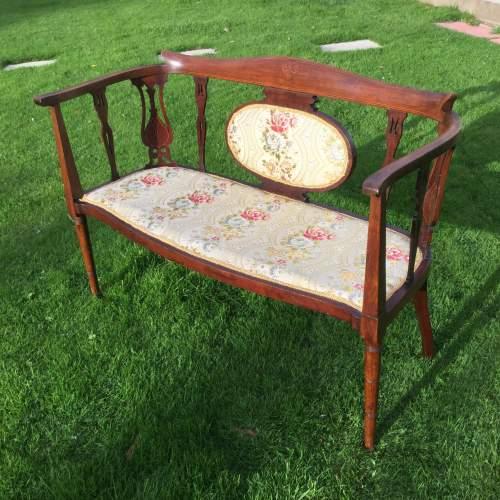 Edwardian Mahogany Framed Two Seater Settee image-1