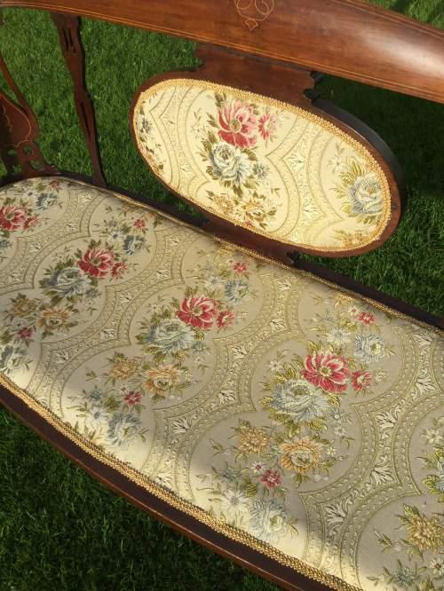 Edwardian Mahogany Framed Two Seater Settee image-3