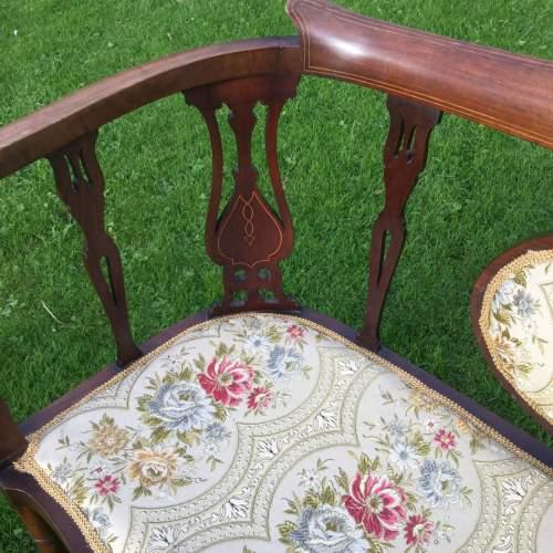 Edwardian Mahogany Framed Two Seater Settee image-4